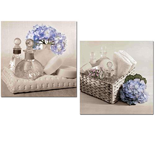 Cuadros baño hortensias azul jabones y toallas 24cmx24cmx7mm impermeable,antihumedad, adhesivo...