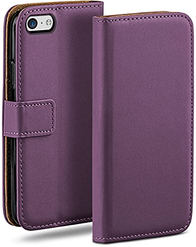 moex Klapphülle kompatibel mit iPhone 5c Hülle klappbar, Handyhülle mit Kartenfach, 360 Grad Flip Hülle, Vegan Leder Handytasche, Lila