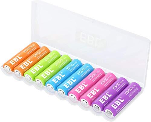 EBL 10 pcs 1.2V AA Batterie Ricaricabili con Una Scatola Protettiva, Pile Ricaricabili da 2500mAh Ni-MH carica da 1200 volte, Arcobaleno