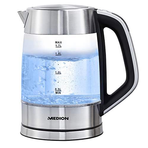 MEDION Wasserkocher mit Temperatureinstellung (Glas, Edelstahl, 2200 Watt, 1.7 Liter, Filter, 30-100° C, Tee, Babynahrung, Basisstation, MD10210)