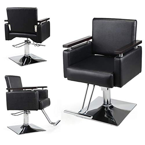 JAXPETY Hydraulic Barber Chair, 360 Degrees Rolling Swivel Wide Styling Salon Chair, All Purpose Beauty Equipment with Foot Rest and Square Base, Black