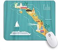 MISCERY マウスパッド キューバキューバのランドマークのビーチマップ 高級感 おしゃれ 防水 端ステッチ 耐久性が良い 滑らかな表面 滑り止めゴム底 24cmx20cm