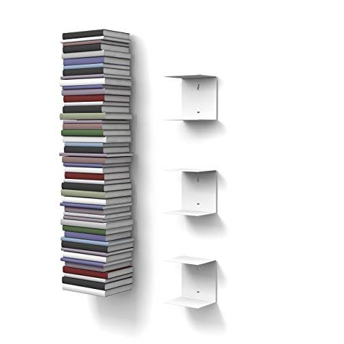 home3000 - 3 Mensole libreria, Invisibili, Colore: Bianco, Altezza:Fino a 150 cm, per Mettere i Libri in pila, per Libri con profondità Fino a 22 cm