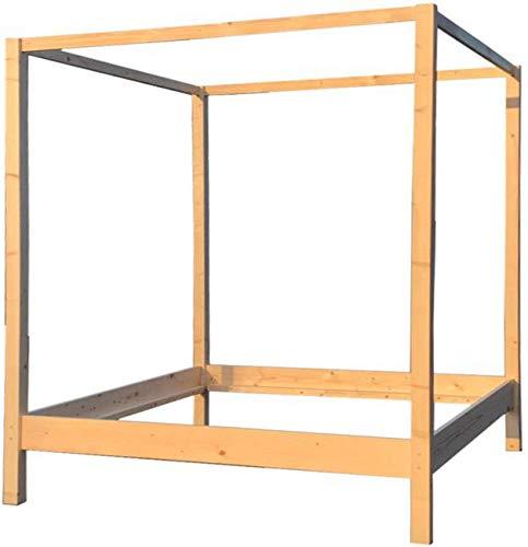 LIEGEWERK Himmelbett Holz Massivholzbett Holzbett Bett hergestellt in BRD 90 100 120 140 160 x 200cm Holz (90 x 200 cm)