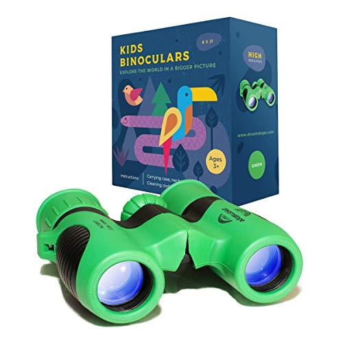 Dreamskope Kids Binoculars Boys and Girls 8x21 Bird Watching - Childrens Toy Binoculars High Resolution 8X Magnification Camping Gear Age 3 4 5 6 7