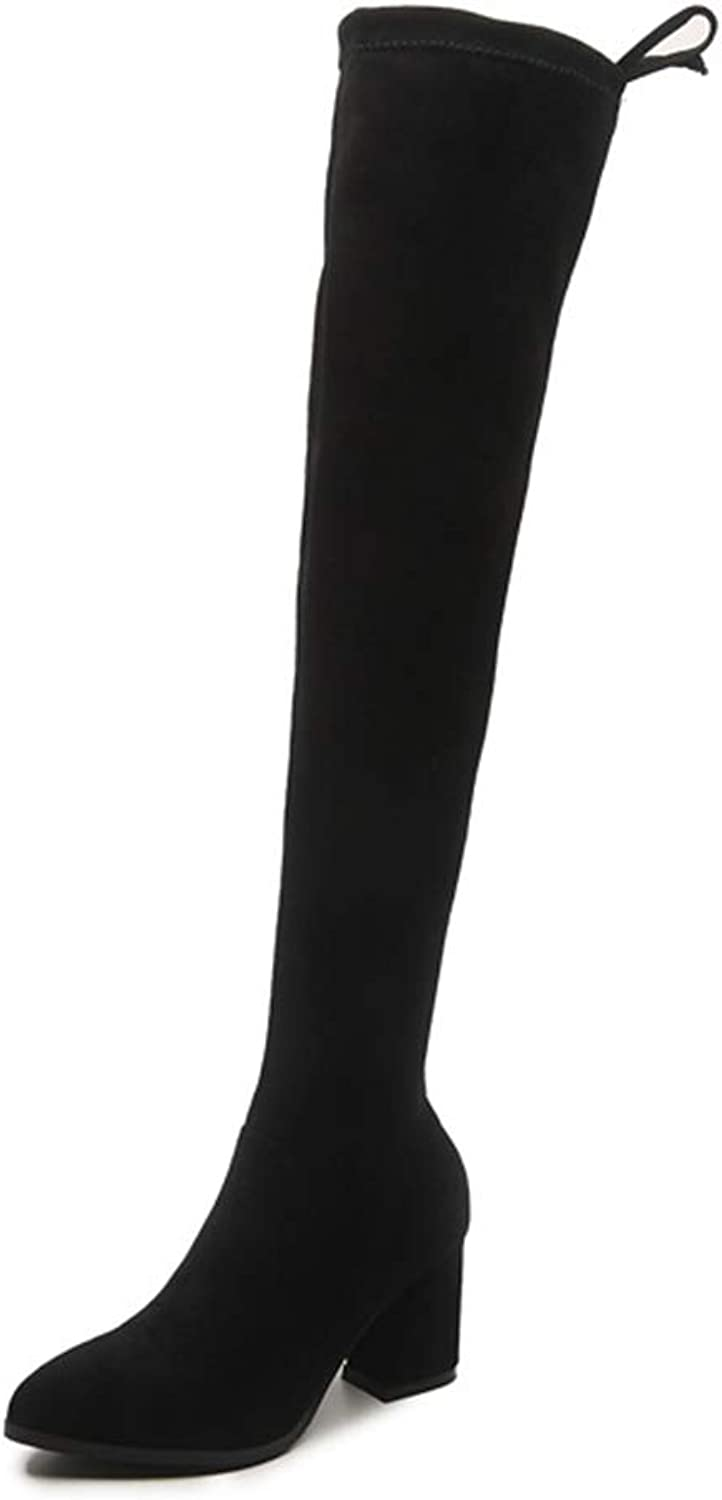 Sam Carle Women Boots, Fashion Black Slip On Med Heel Round Toe Over The Knee Boots
