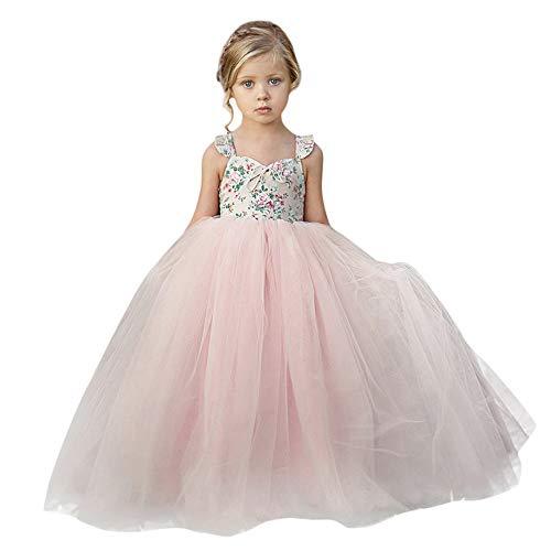 LEvifun Abito Bambina Principessa Vestito da Cerimonia per la Damigella Bowknot Floreale Bambina Abito Abiti per la Matrimonio Carnevale Natale Regalo