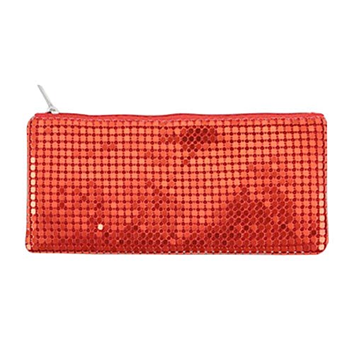 Drawihi Pencil Case Colorful Sequins Zipper Stationery Storage Bag Suitable for Girls School Supplies Makeup Brush Finishing Red