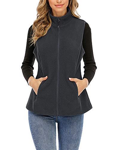 Nekosi Damen Weste Stehkragen Jacken Draussen Reißverschlusswesten Weste Leichte Gilets Mit Taschen Dunkelgrau Groß