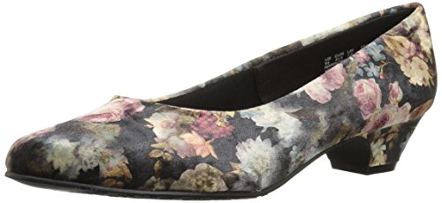 Soft Style Hush Puppies Women's Angel II Pump, Black Floral Printed Velvet, 11 W US