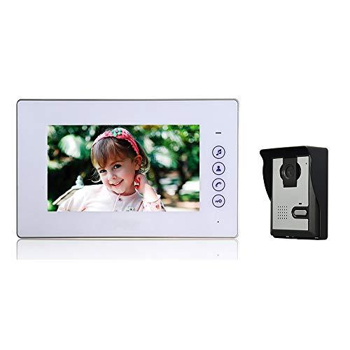 """Nudito Kit Videoportero Universal con Botón Táctil para Casa, Interfono Intercomunicador (1 Monitor TFT LCD a Color de 7"""", 1 Cámara Infrarroja Exterior e Impermeable con Visión Nocturna)"""