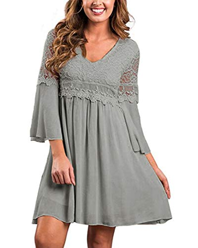 ZANZEA Women's Vintage Floral Lace V Neck 3/4 Bell Sleeve Cocktail A-line Swing Party Casual Mini Dress Grey XL