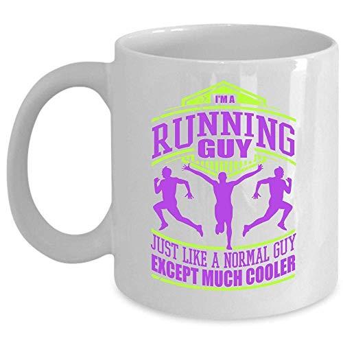 Cool Running Guy Coffee Mug, soy un chico corriendo como un chico normal, excepto una taza mucho más fresca (taza de café - BLANCO)