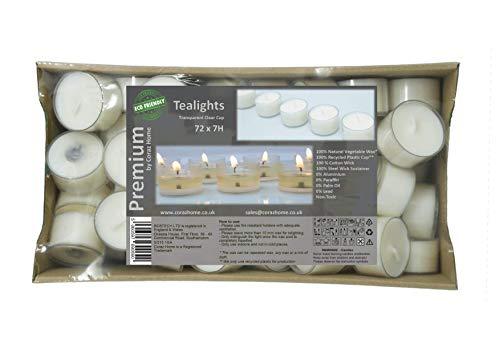 Premium 7 Uur Lange Brandtijd Pack van 72 Geel/Groene Clear Cup theelichten Milieuvriendelijke theelichten Wit Ongeurende Nachtlampjes Kaarsen Koolzaad Wax Of Soja Wax Clear Cup