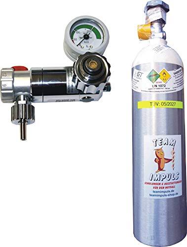 1,8-Liter Sauerstoffflasche mit Druckminderer/Druckregler Weinmann Oxyway Fast I regelbar - Flasche aus Aluminium mit medizinischem Sauerstoff Druck: 200 bar von Team Impuls