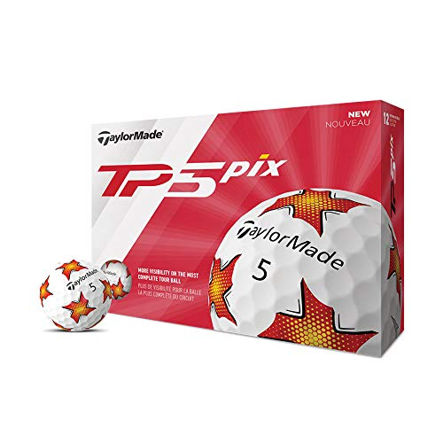 TaylorMade TP5 Pix Red/Yellow Golf Balls (One Dozen)