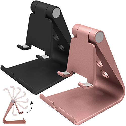 2 Packs Multi-Angle Adjustable Cell Phone Stand, SourceTon Portable Sturdy Plastic Desk Stand Mount Fits All Smart Phones Charging with Anti-Slip Base and Convenient Charging Port, Fits Mini Tablet