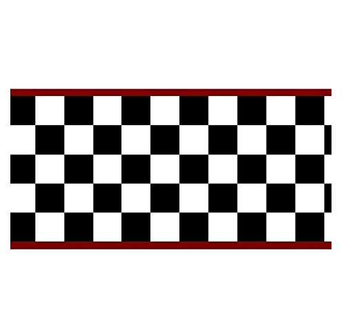 Checkered Flag Cars Wallpaper Border-6 Inch (Red Edge)