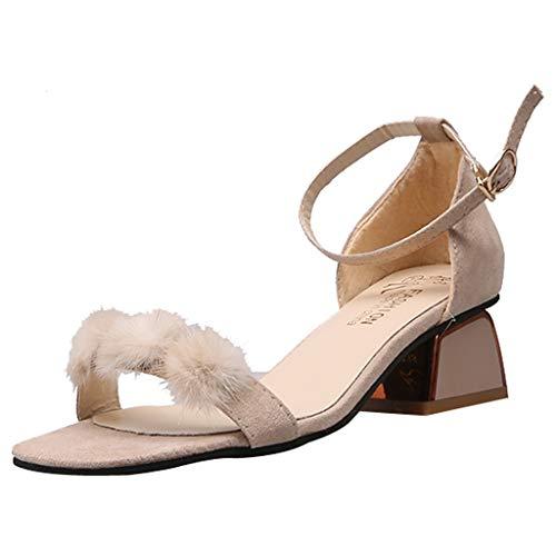 Tohole Frauen Damen Künstlich Fluff Sandale High Heels Schuhe Flauschige Riemchen Stiletto Damen High Heel Pumps Sandalen Party Schuhe Damen Riemchensandaletten(beige,37 EU)
