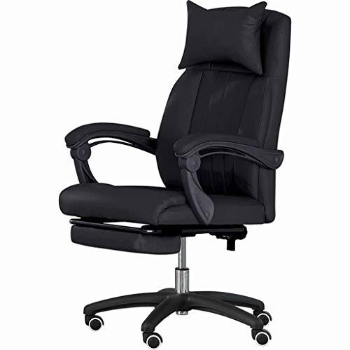 Drehstuhl Bürostuhl Lehnstuhl Stühle, Ergonomie E-Sport-Computer Leder-Kissen Weich Kissen for Home Study (Color : Black)