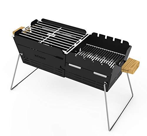 41RrGJoAkgL - knister Grill Original - Mobiler Holzkohlegrill für Picknick, Camping und Outdoor, Schwarz