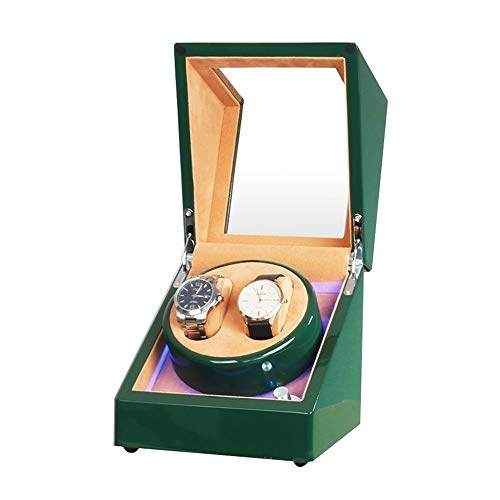 Jlxl Caja Enrolladora Reloj Automática Doble Fuente Alimentación Dual Motor Silencioso Exterior Pintura Piano Verde para Hombre Mujer Relojes Accesorios (Color : Brown)