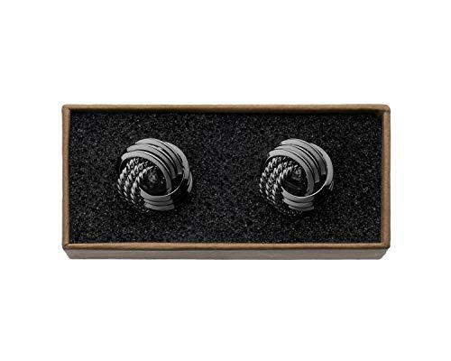 "VALDERO® Herren Manschettenknöpfe -""Unique Knots"" in Box (1 Paar - Schwarz)"