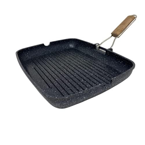 OUSAN NAMAI- Bistecchiera Antiaderente Pietra con Manico Pieghevole- Allumino – Grigia 36x24 Centimetri, Piastra per Cucinare sui Fornelli