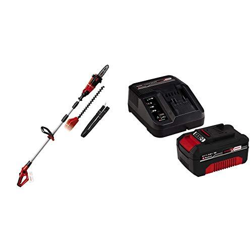 Einhell GE-HC 18 Li T-Solo -Pack con herramienta multifuncional sin cable, motosierra y cortasetos, mango telescópico + 4512042 Kit con Cargador y batería de repuest, tiempo de carga: 60 Minutos