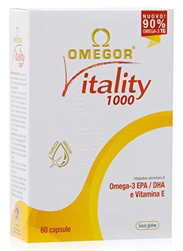 OMEGOR Vitality 1000 - NUOVO con 90% di Omega-3 TG! Certificato 5* IFOS dal 2006. EPA 535mg e DHA 268mg per perla. Struttura min. 90% Trigliceridi e distillazione molecolare, 60 cps