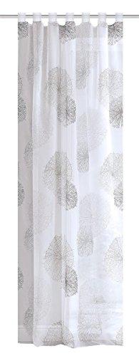 HOME WOHNIDEEN Rideau à passants en voile imprimé sur les côtés et les finitions - 100 % polyester - 145 x 140 cm - Gris Rawlins
