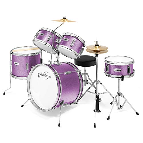 "Ashthorpe 5-Piece Complete Kid's Junior Drum Set with Genuine Brass Cymbals - Children's Advanced Beginner Kit with 16"" Bass, Adjustable Throne, Cymbals, Hi-Hats, Pedals & Drumsticks - Purple"