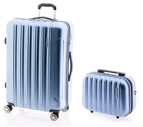 Maletas TOP - Koffer-Trolley-L+ Beauty-Case: 75x50x31 cm, 4 Rollen, TSA-Schloss, Polycarbonat (eisblau)