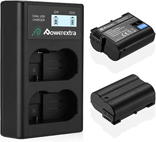 Powerextra Batería de repuesto compatible con Nikon EN-EL15 y doble cargador pantalla LCD MH-25 MH-25a para Nikon D7100 D750 D7000 D700 D700 D810 D810 D800 D800 D800 D50 D800E D800000000 A D800 A.