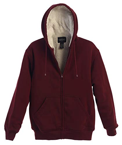 Gioberti Men Heavyweight Sherpa Lined Fleece Hoodie Jacket, Maroon, 4X Large