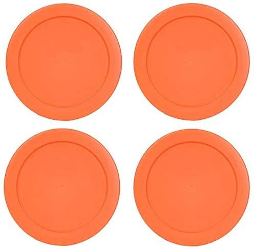Klareware 2 Cup Round Plastic Food Storage Replacement Lids Covers for Klareware Anchor Hocking and Pyrex Glass Bowls (Container not Included) (Orange) (4 Pack)