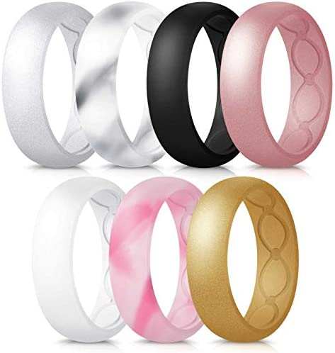Forthee 7 Pack Breathable Designed Silicone Wedding Ring for Women 5 7mm Silicone Rubber Band product image