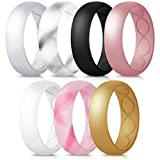 Forthee 7 Pack Breathable Designed Silicone Wedding Ring for Women, 5.7mm Silicone Rubber Band, Durable Wedding Ring Replacement, Comfortable fit, Skin Safe,Size 7