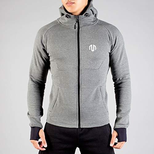 MOROTAI Neotech Full Zip Hoodie Kapuzensweater Herren - Hochwertiger Fleecepullover - Reißverschluss Sweatshirt - Dunkelgrau - M