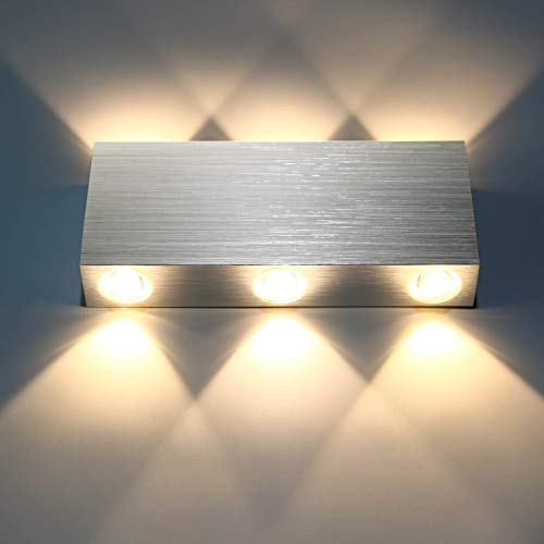 Lightess 6W Wandlampe LED Wandleuchte Innen Modern Up Down Licht aus Aluminium Belechtung für Wohnzimmer Schlafzimmer Treppenhaus Flur, Warmweiß
