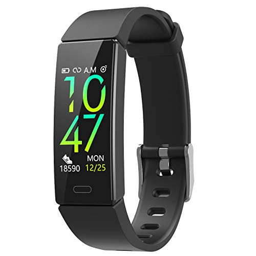 ZURURU Fitness Tracker with Blood Pressure Heart Rate Sleep Health Monitor, Waterproof Activity Tracker with Step Calorie Counter Pedometer for Men & Women (Black)