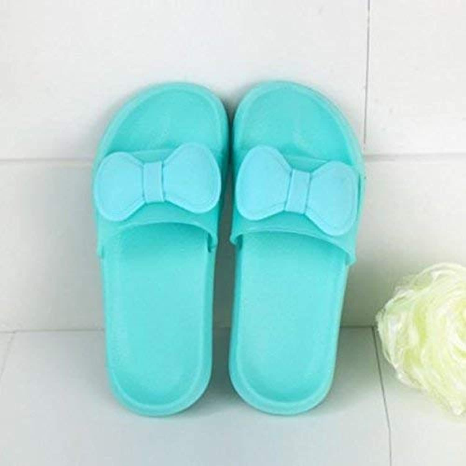 GouuoHi Womens Slippers Home Indoor Slippers Ladies Slip Bath Slippers Pink bluee Green Slipper Soild color Personality Bow Quality