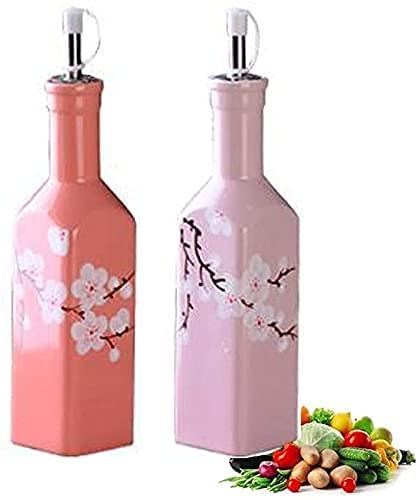Botella dispensadora de Aceite de Oliva, vinagrera de Aceite y vinagre, dispensador de Botella de vinagre de Aceite de cerámica de sobremesa de 300 ml, dispensador de condimentos de vinagrera líquid