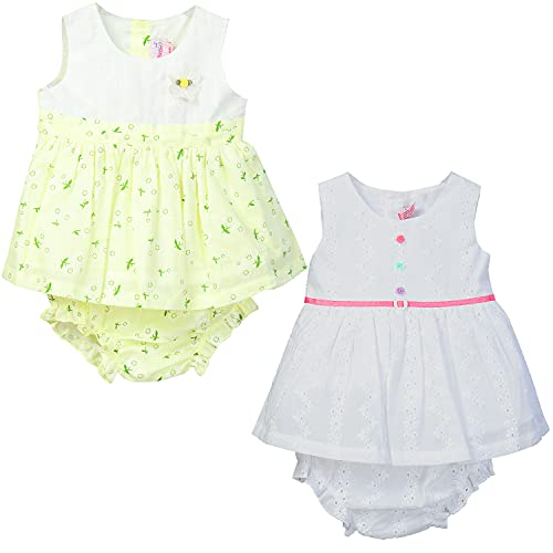 Pink Reban | Pack of 2 | Newborn Infant Baby & Toddler Girls 100% Soft Cotton Sleeveless Dress with Matching Diaper Cover | Summer Outfits Sets for Kids (White and Yellow, 6-9 Months)