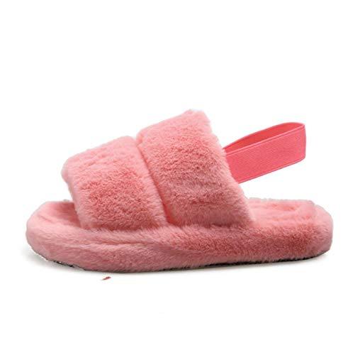 LSWL Piel de Las Mujeres Zapatos de Las señoras Zapatillas de Felpa mullida Linda Sandalias de Las Mujeres Peludo Zapatillas Casual Inicio Casa Zapatillas de Interior