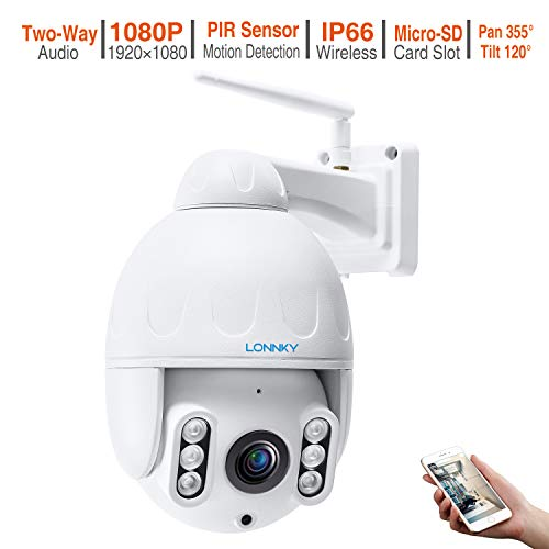 LONNKY Full HD 1080P Draadloze Beveiliging IP Camera PTZ Outdoor WiFi Dome Camera ONVIF 5X Optische Zoom CCTV Video Surveillance Twee-weg Audio, 200ft Nachtzicht, Bewegingsdetectie, Volledige Metalen Behuizing