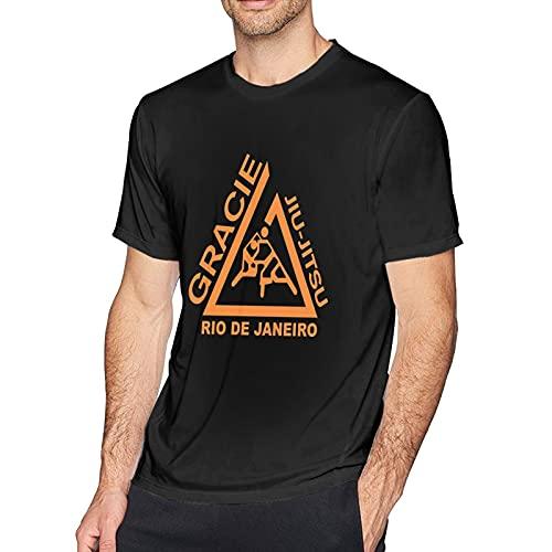 Gracie Jiu Jitsu Juijitsu Camiseta de Manga Corta para Hombre Camiseta de algodón con Cuello Redondo Cómoda y Elegante T-Shirt