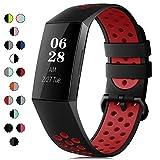 RIOROO Correa Compatible para Fitbit Charge 3 Pulsera/Charge 4 Correa para Hombres Mujeres Relojes Banda de Reemplazo Silicona Transpirable Deportivo Pulseras de Repuesto Negro Rojo(Sin Reloj)