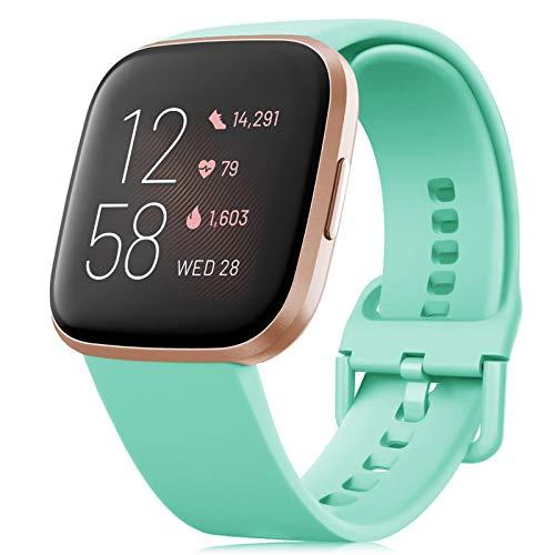 RIOROO Correa Compatible para Fitbit Versa Pulsera/Versa 2 Correa/Versa Lite Correa/Blaze Pulseras,Silicona Banda de Reloj para Hombres Mujeres, Deportivo Recambio de Pulsera Verde Azulado,S