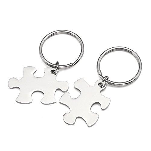 Personalized Master Gratis Gravur - Paare Schlüsselanhänger Edelstahl Partner Schlüsselanhänger Puzzle Anhänger Schlüsselring mit Gravur- Personalisierte Geschenke (Silber)